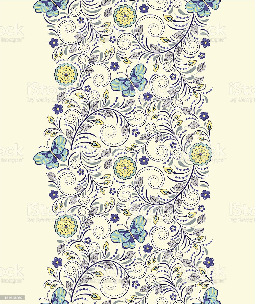 seamless pattern with abstract flowers and butterflies royalty-free stock vector art