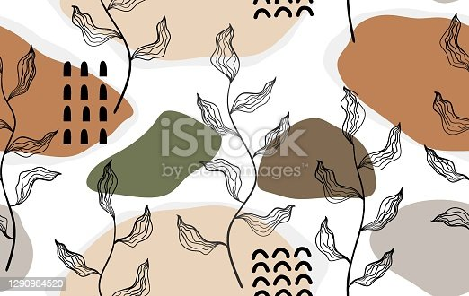 istock Seamless pattern with abstract flowers and leave. Creative floral surface design. Vector background 1290984520