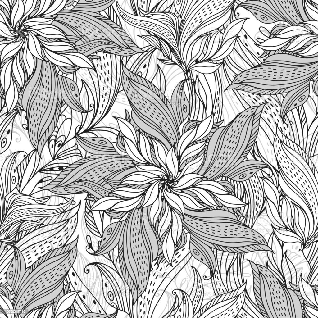 Seamless Pattern With Abstract Flowers On White Background