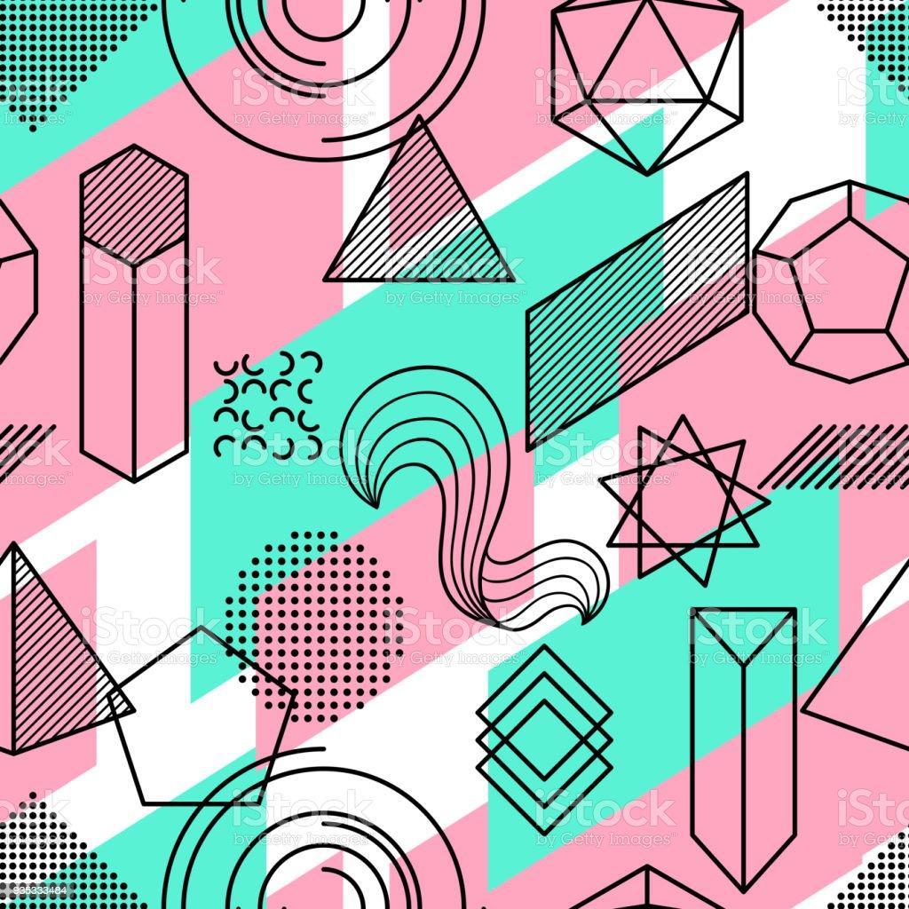 Verwonderend Naadloze Patroon Met Abstracte Geometrische Vormen Lijn Kunst SK-55