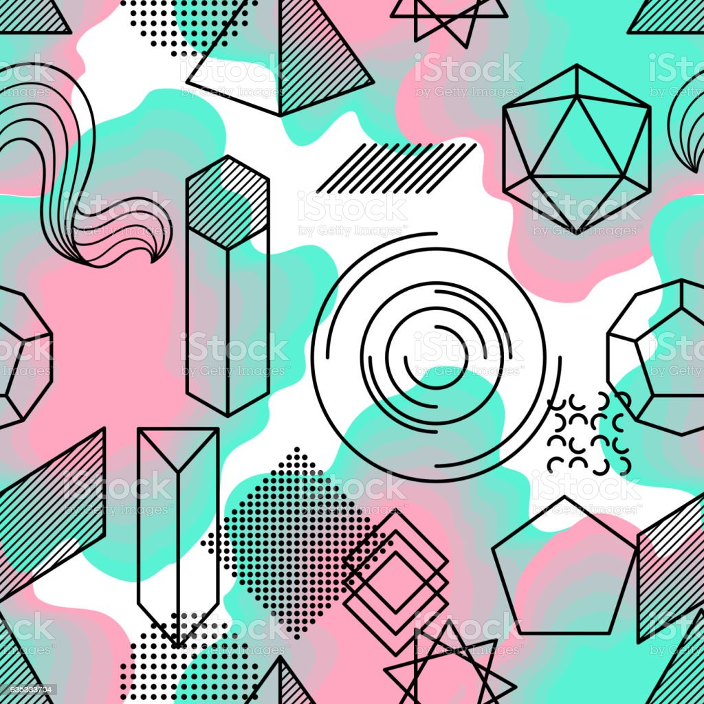 Seamless Pattern With Abstract Geometric Shapes Line Art Background