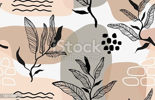 istock Seamless pattern with abstract leave  and flower. 1321458175