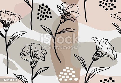 istock Seamless pattern with abstract leave  and flower. 1321458813