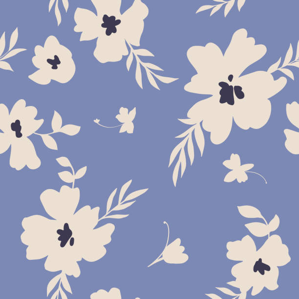 Seamless pattern with abstract meadow daisy flowers. Flat style. Silhouettes. Summer floral background. Seamless pattern made of abstract simple flowers. Flat floral ornament. Minimalistic botanical elements. Nature background for fashion, textile design, fabric, clothing, wrapper, surface. flower head stock illustrations