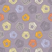 Seamless pattern with abstract multicolored screw nuts