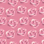 Seamless pattern with abstract polygonal roses