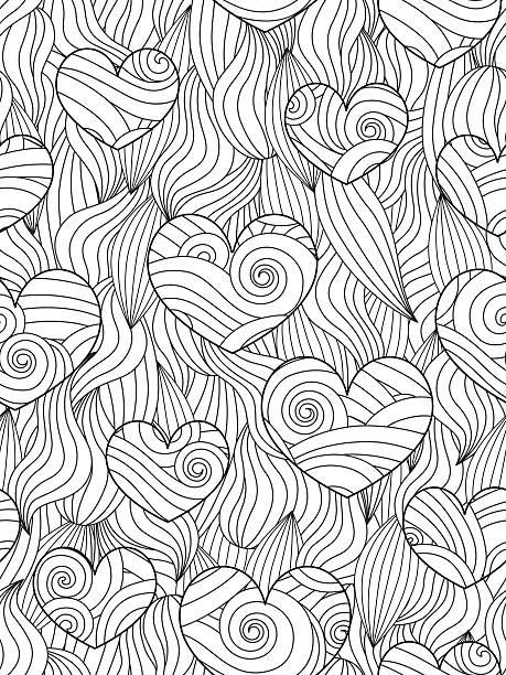 stockillustraties, clipart, cartoons en iconen met seamless pattern with abstract waves and hearts. - volwassen