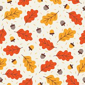 Seamless pattern with acorns and autumn oak leaves