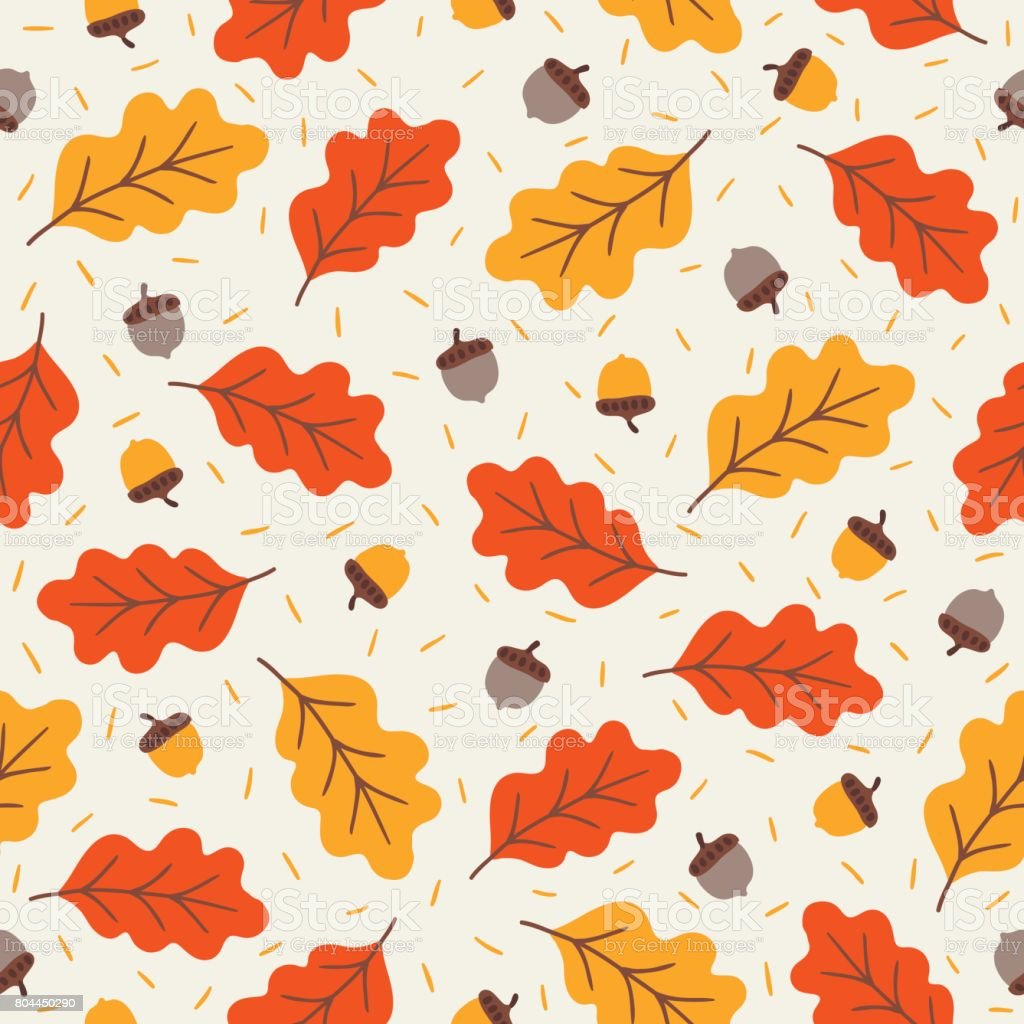 Seamless pattern with acorns and autumn oak leaves vector art illustration