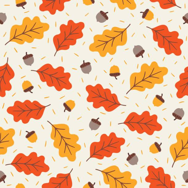 Seamless pattern with acorns and autumn oak leaves Seamless pattern with acorns and autumn oak leaves in Orange, Beige, Brown and Yellow. Perfect for wallpaper, gift paper, pattern fills, web page background, autumn greeting cards. autumn patterns stock illustrations