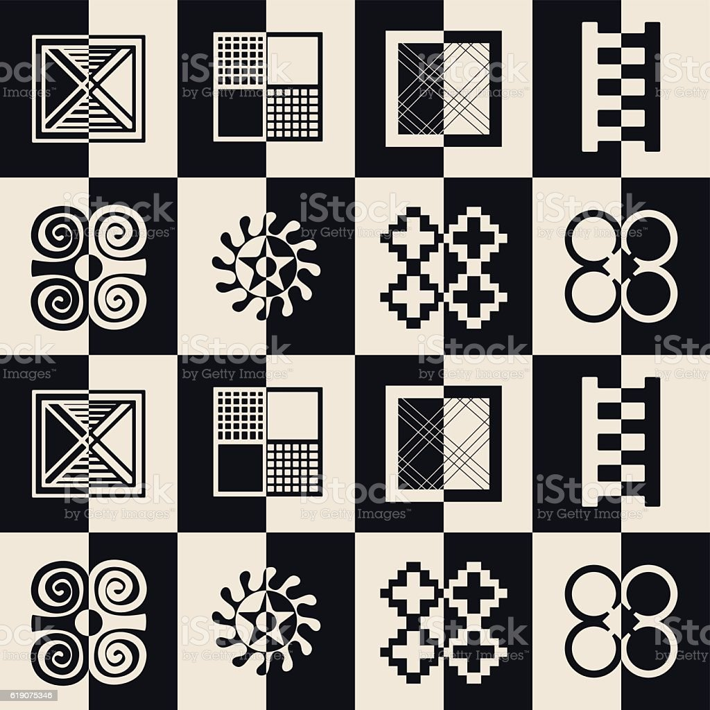 seamless pattern with adinkra symbols stock vector art more images