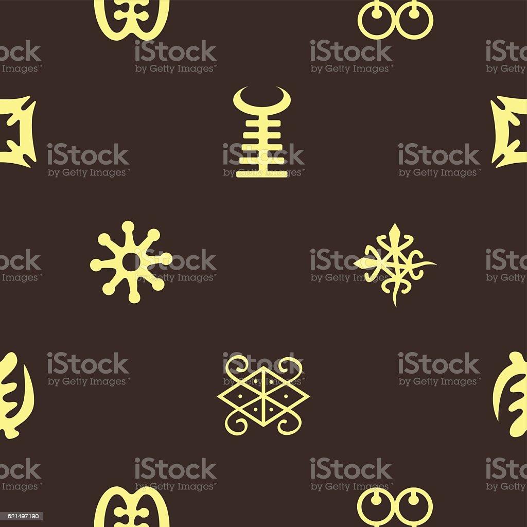 seamless pattern with adinkra symbols Lizenzfreies seamless pattern with adinkra symbols stock vektor art und mehr bilder von bildhintergrund