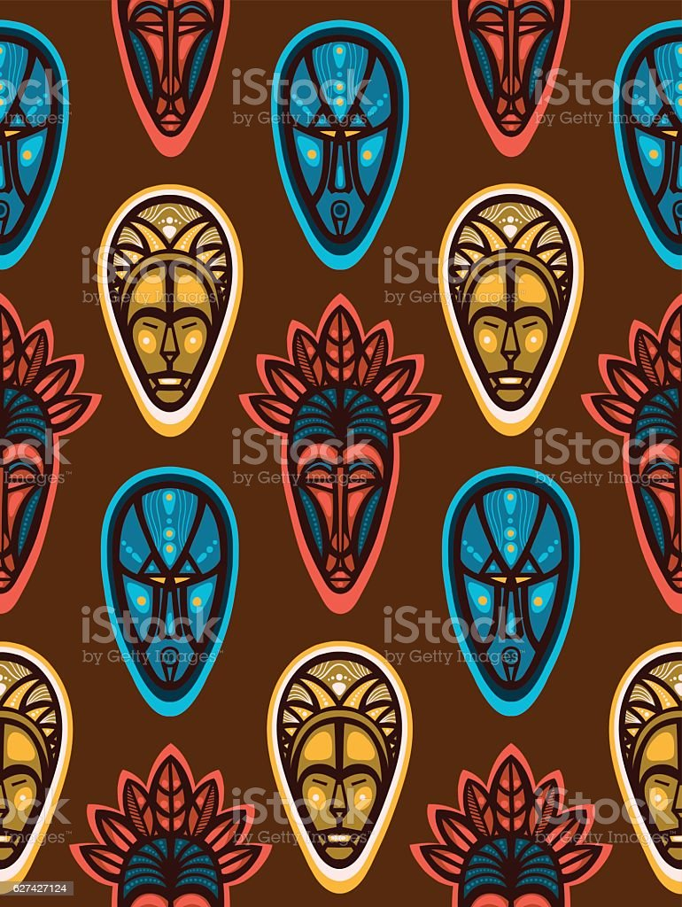 Seamless pattern with african ritual masks. vector art illustration