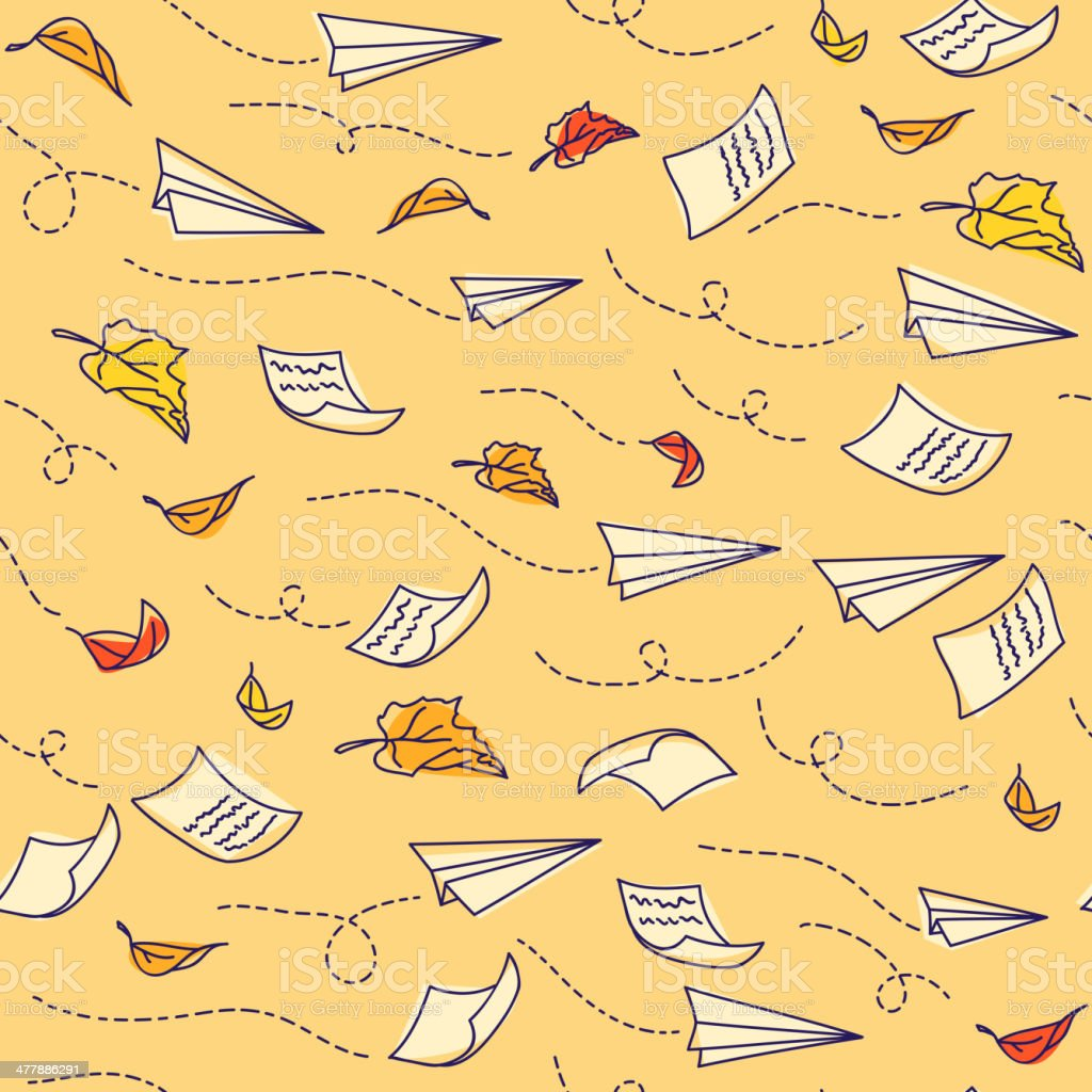 Seamless pattern with airplanes royalty-free stock vector art