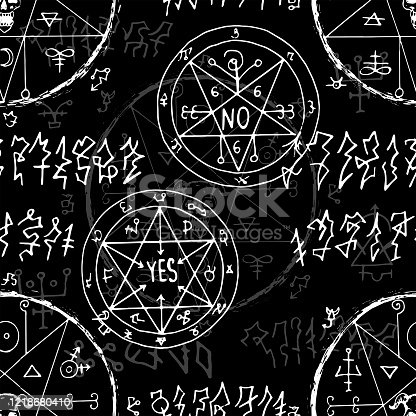 istock Seamless pattern with alchemy secret signs and magic seals on black 1218680410