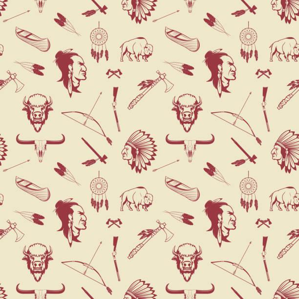 Seamless pattern with american Indian heads, weapon. - ilustração de arte em vetor