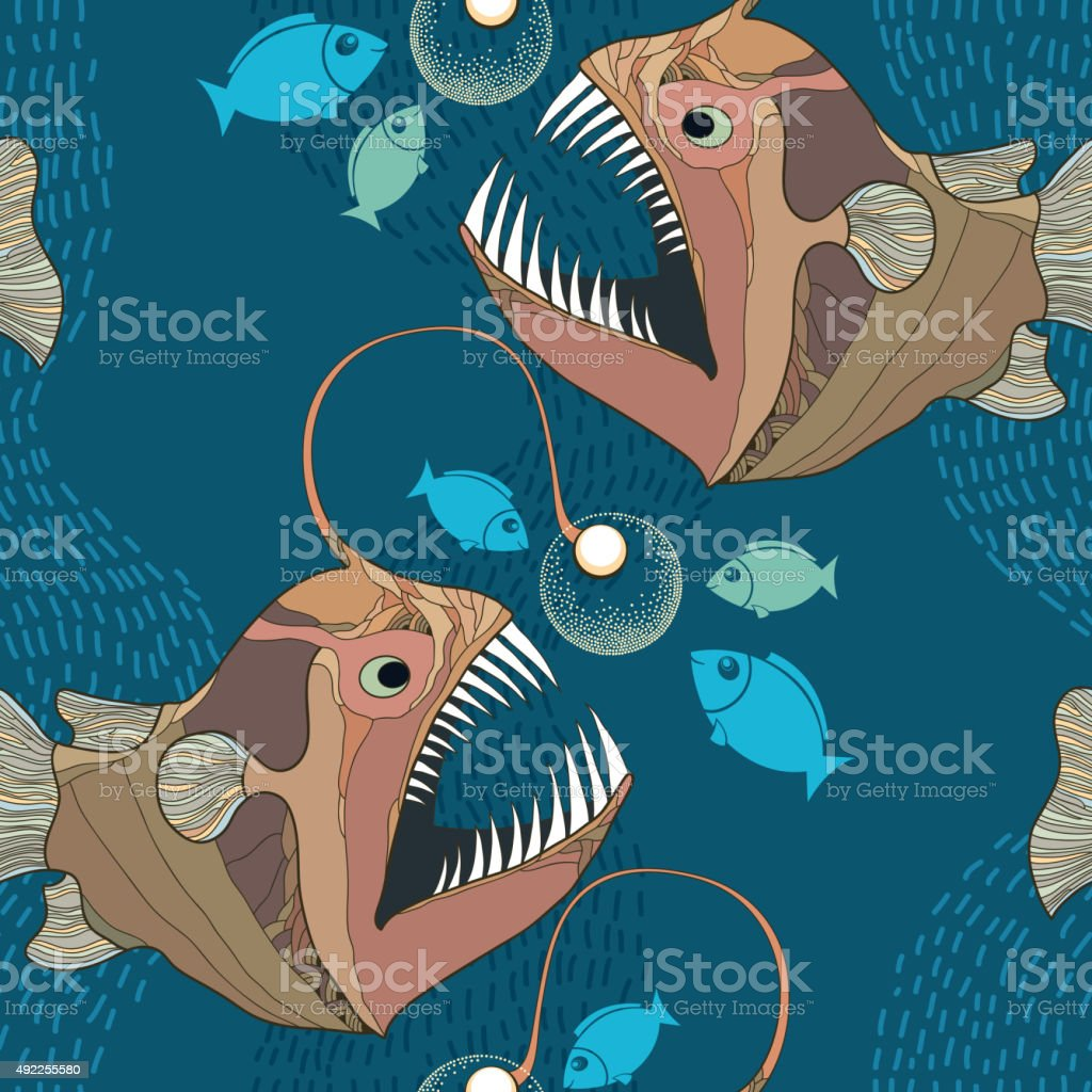 Seamless pattern with Angler fish or monkfish with lantern vector art illustration