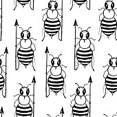 Seamless pattern with angry killer bees. Soldier bee with pike. Killer bees army
