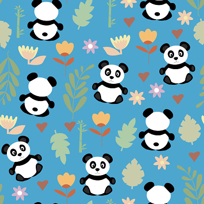 Seamless pattern with animals. Cute black and white pandas, and botanical elements of grass and flowers