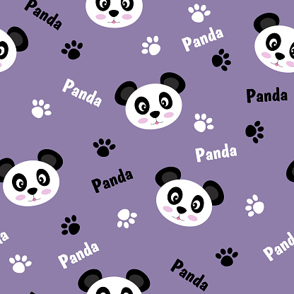 Seamless pattern with animals. Cute black and white pandas, footprints. Vector flat design