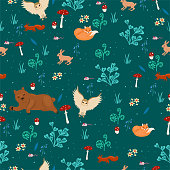 Seamless pattern with animals in the forest. Vector graphics.