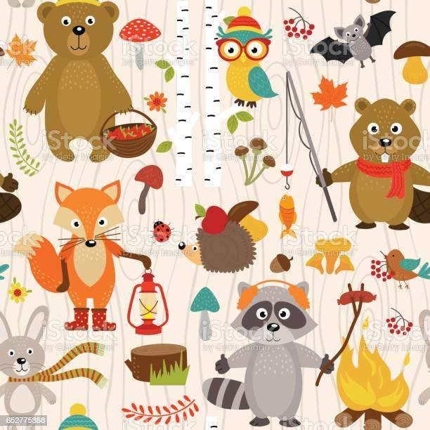 Seamless pattern with animals of forest on beige background vector id652775868?b=1&k=6&m=652775868&s=612x612&h=b5guof5hi8 wvao7oayypujrynwpxu8bxruvd7qyuaw=