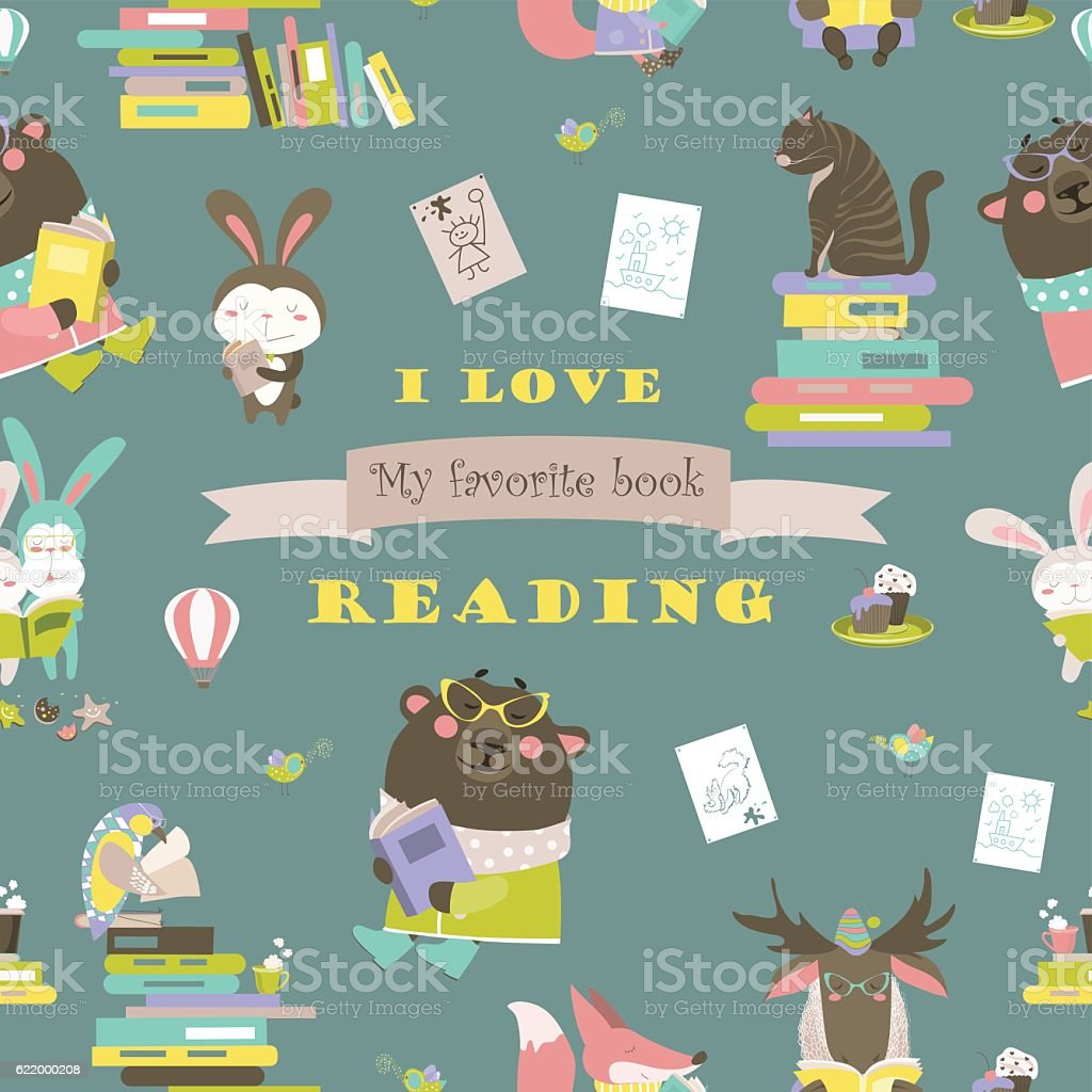 seamless pattern with animals reading books のイラスト素材 622000208