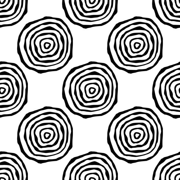 seamless pattern with annual rings vector art illustration