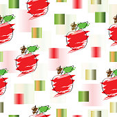 seamless pattern with apple and abstract squares vector
