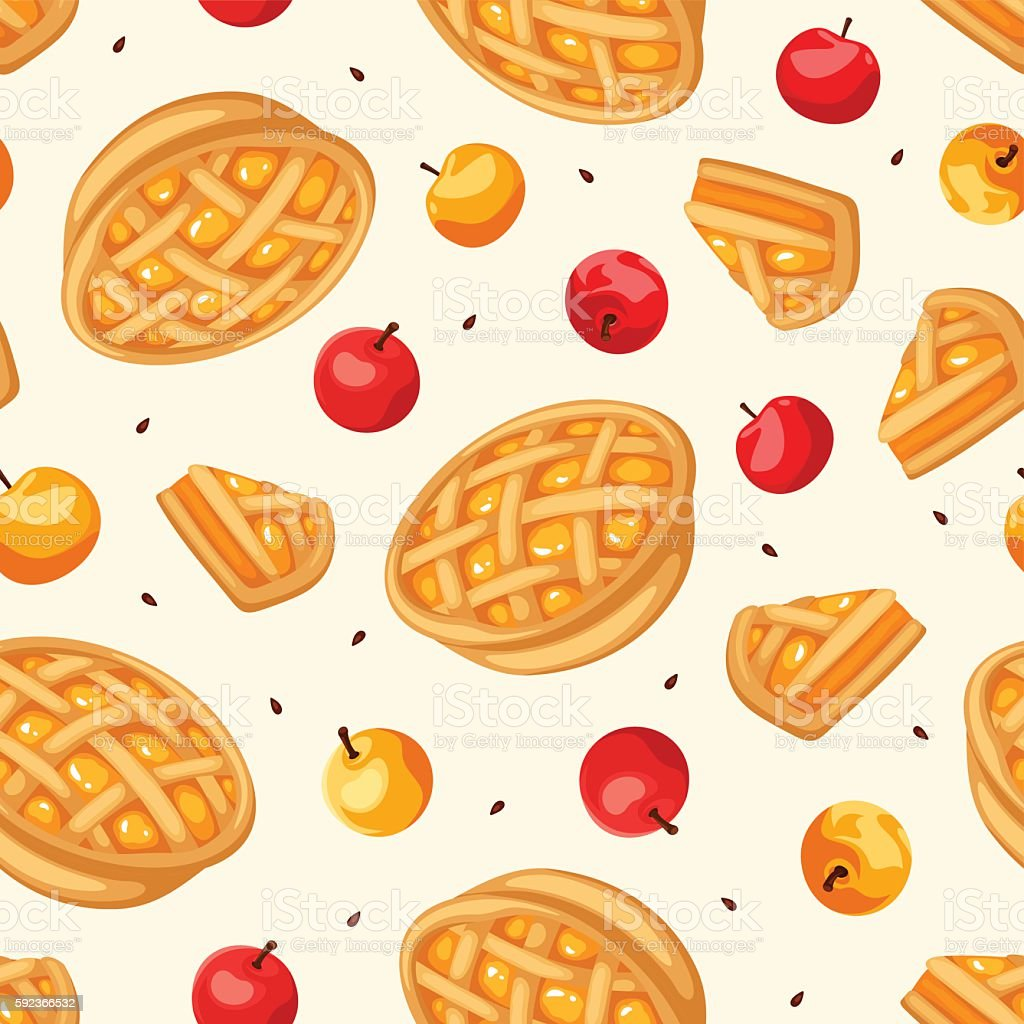 Seamless pattern with apple pies and apples. Vector illustration. vector art illustration