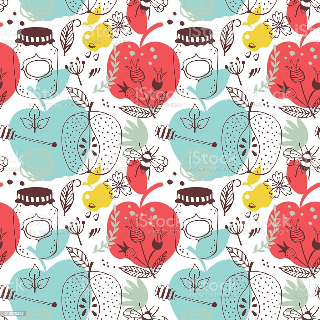 Seamless pattern with apples and honey. Hand drawing vector vector art illustration