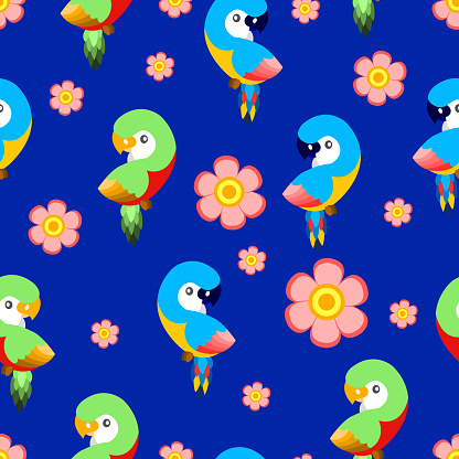 Seamless pattern with ara parrots and pink flowers. Blue, yellow, green, pink, red. Blue background. Cartoon style. Cute and funny. For kids post cards, stationery, wallpaper, textile, wrapping paper