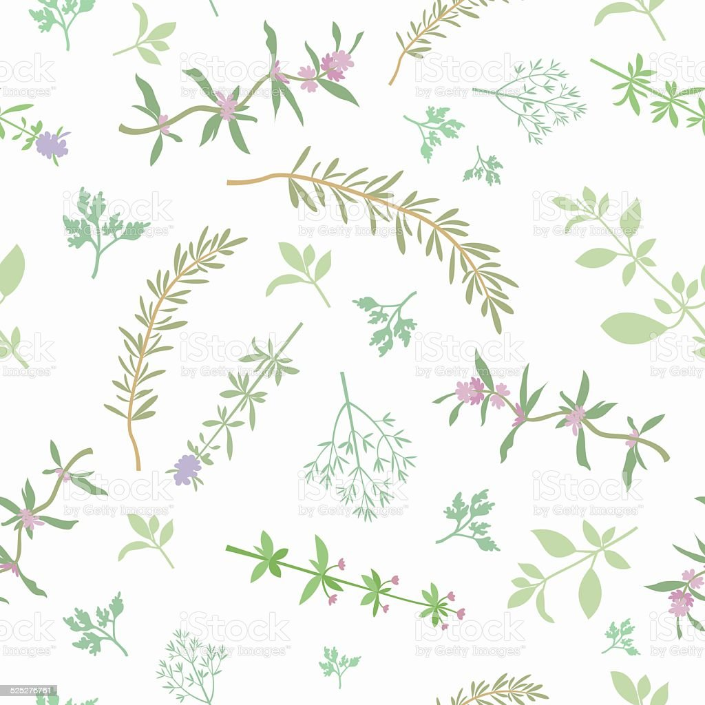 Seamless Pattern With Aromatic Herbs vector art illustration