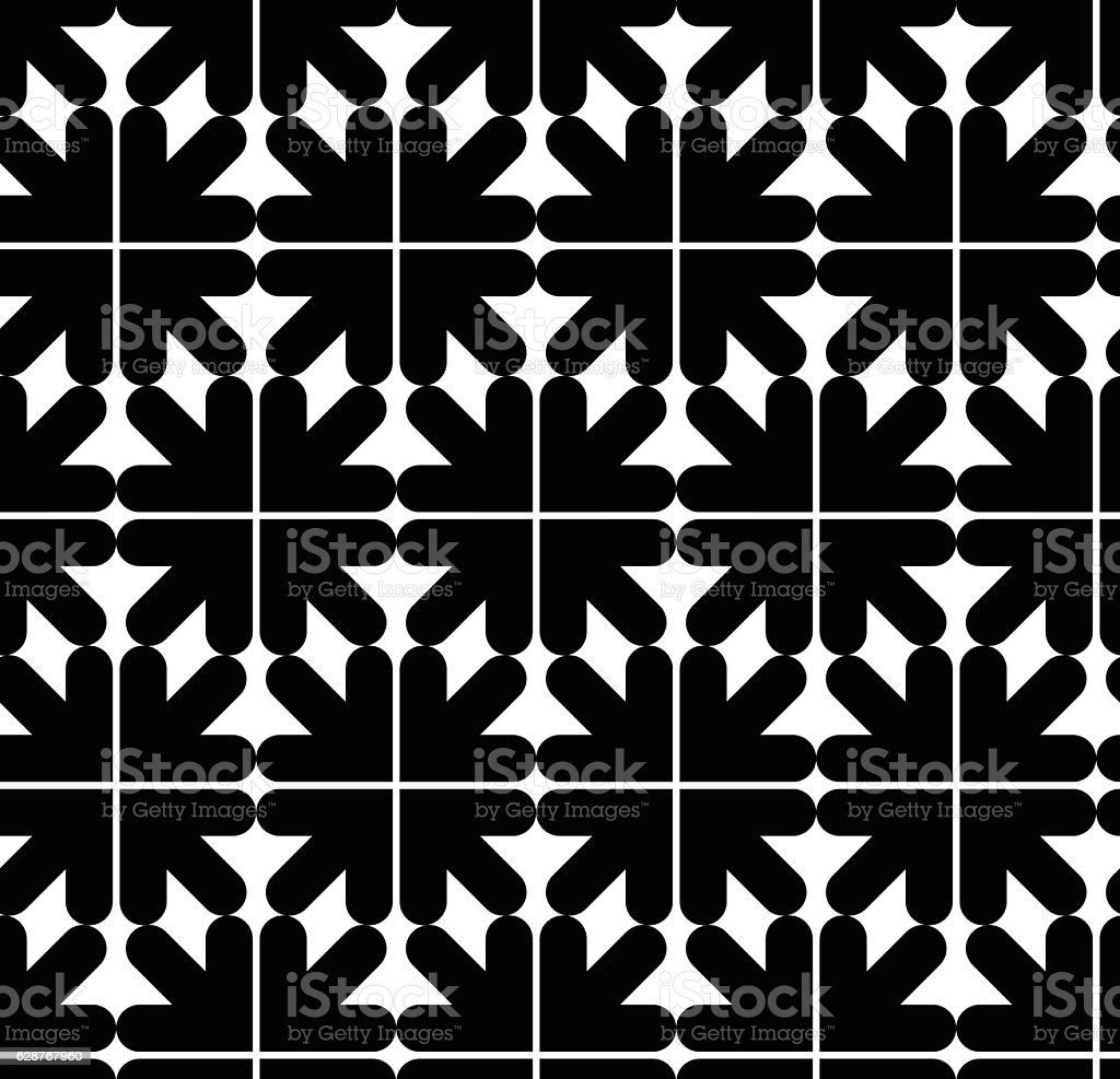 Seamless pattern with arrows, black and white geometric textile vector art illustration