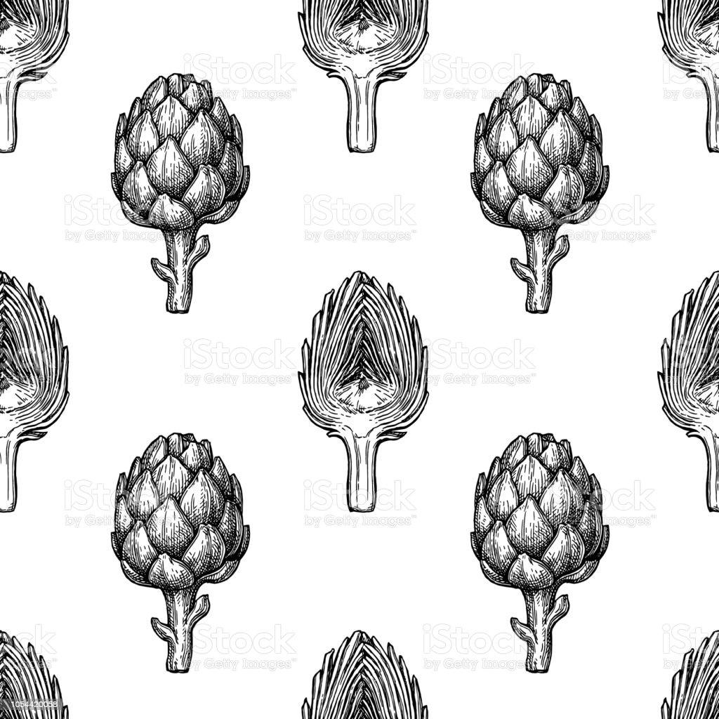Seamless pattern with artichoke. vector art illustration