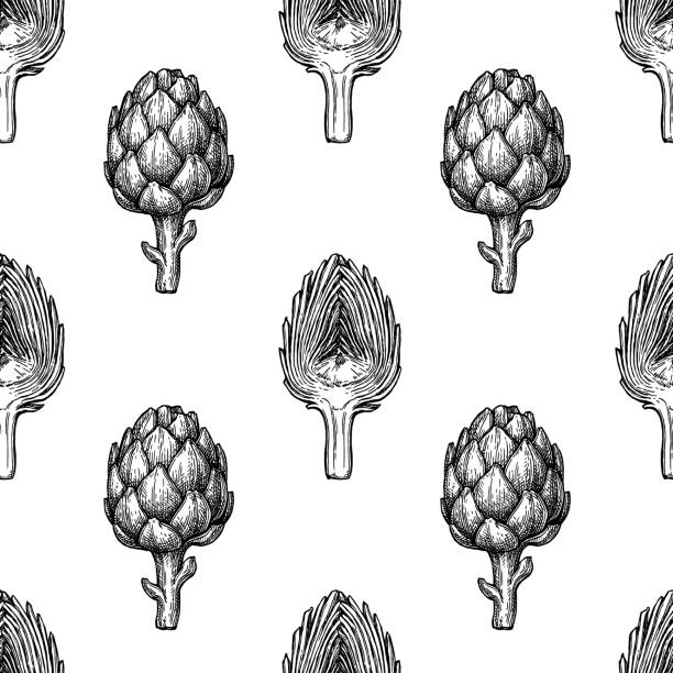 Seamless pattern with artichoke. Seamless pattern with artichoke. Hand drawn vector illustration. Retro style. artichoke stock illustrations