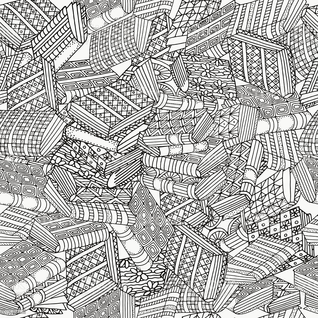 Seamless pattern with artistic books, mountain of books, bookshelf vector art illustration