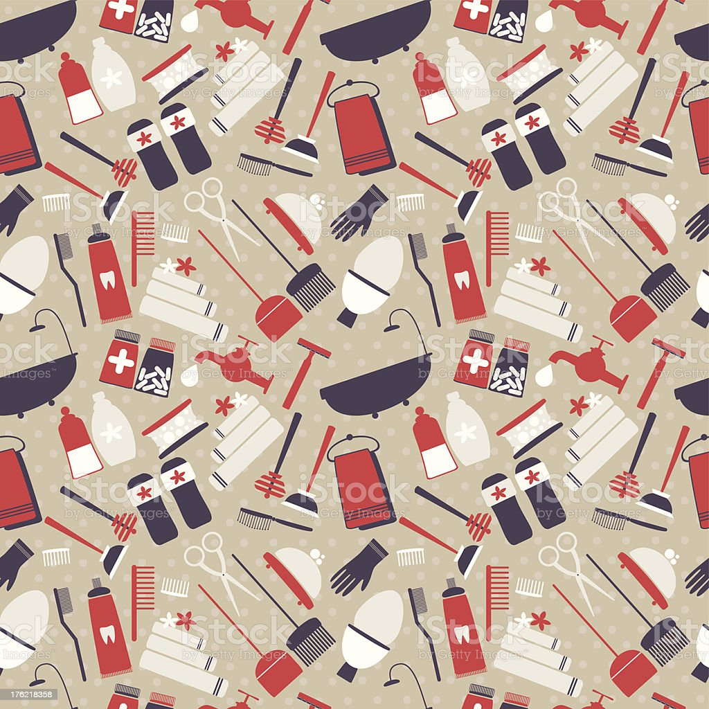Seamless pattern with artistic hygiene elements royalty-free stock vector art
