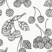 Seamless pattern with artistically cherries.