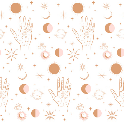 Seamless pattern with Astrology, esoteric  and Space concept.
