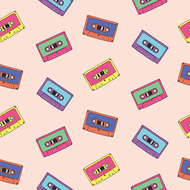 ilustrações, clipart, desenhos animados e ícones de padrão perfeito com fitas de áudio - fita cassete