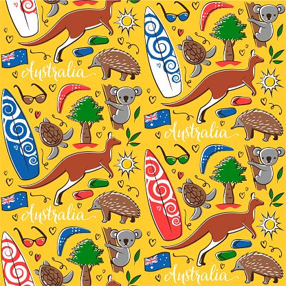 Seamless pattern with Australia symbols