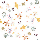 Collection of autumn, leaf, leaves, branch, foliage and more. Colorful surface pattern. Seamless pattern is fallish pattern.
