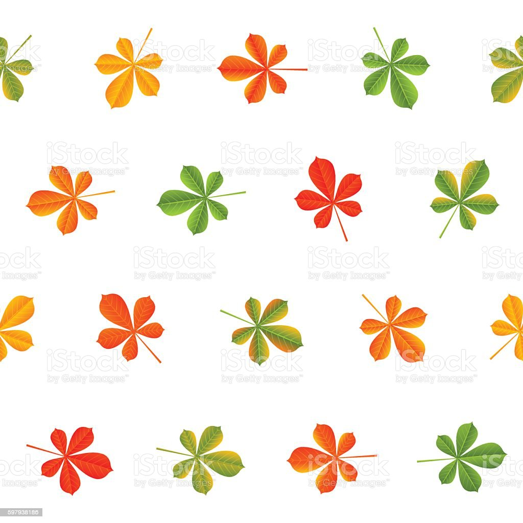Seamless pattern with autumn chestnut leaves ilustração de seamless pattern with autumn chestnut leaves e mais banco de imagens de amarelo royalty-free