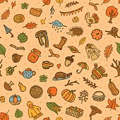 seamless pattern with autumn fall thanksgiving cute doodle decoration elements