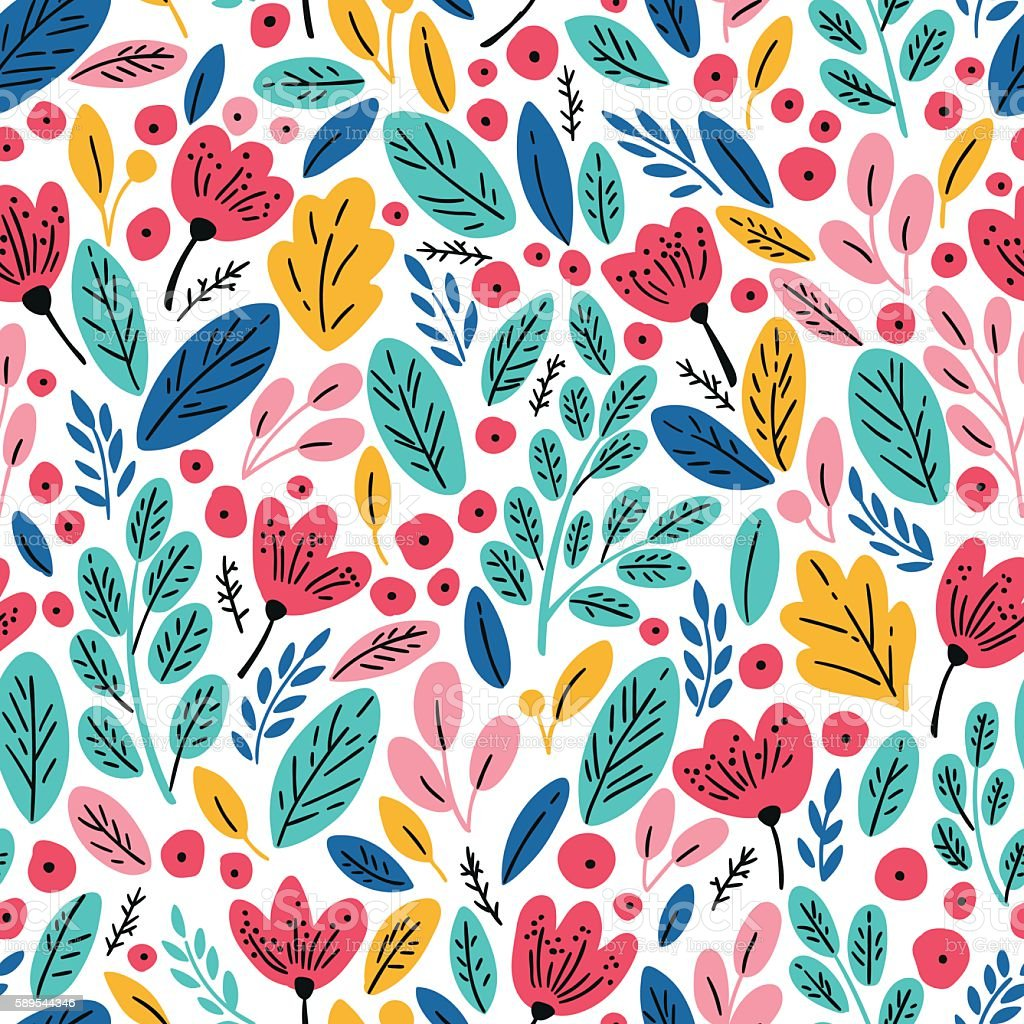 Seamless pattern with autumn leaves and flowers ベクターアートイラスト