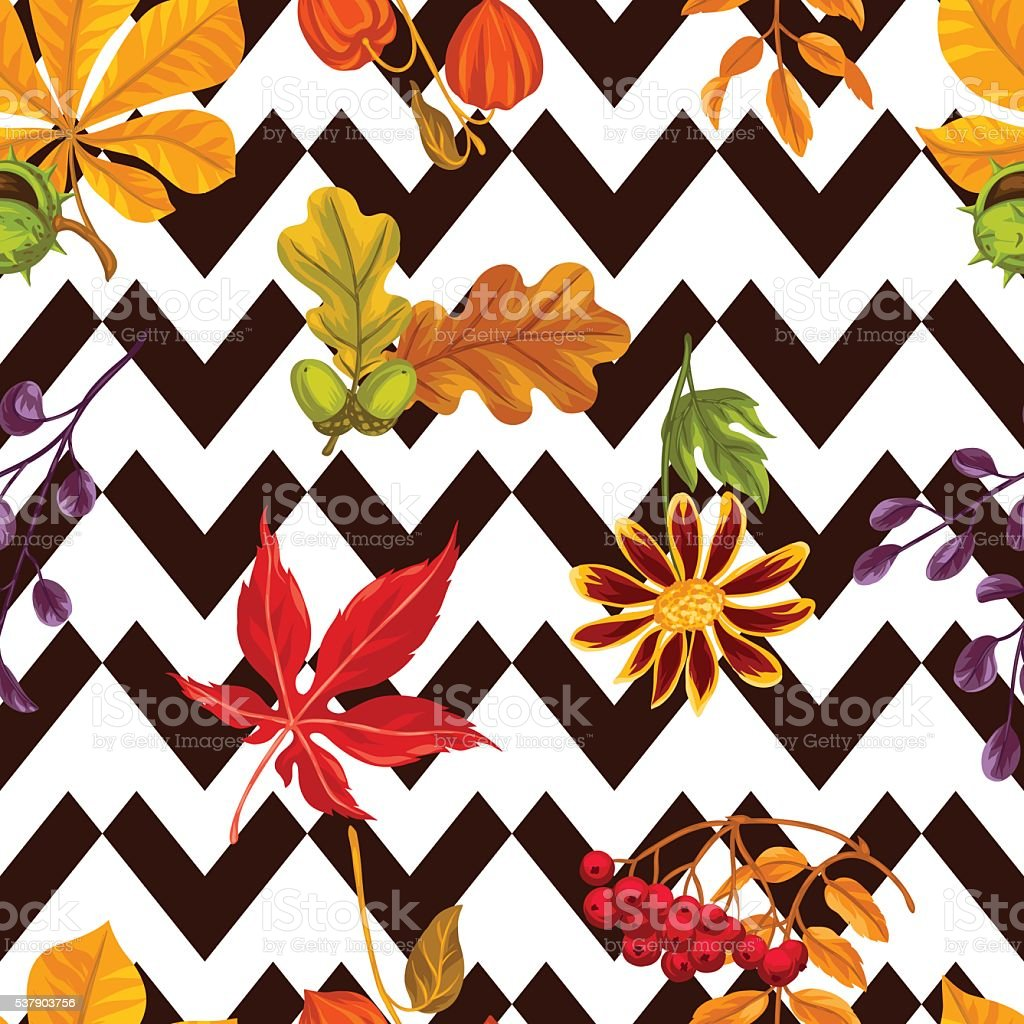 の継ぎ目のないパターン紅葉や植物ます背景に簡単 のイラスト素材