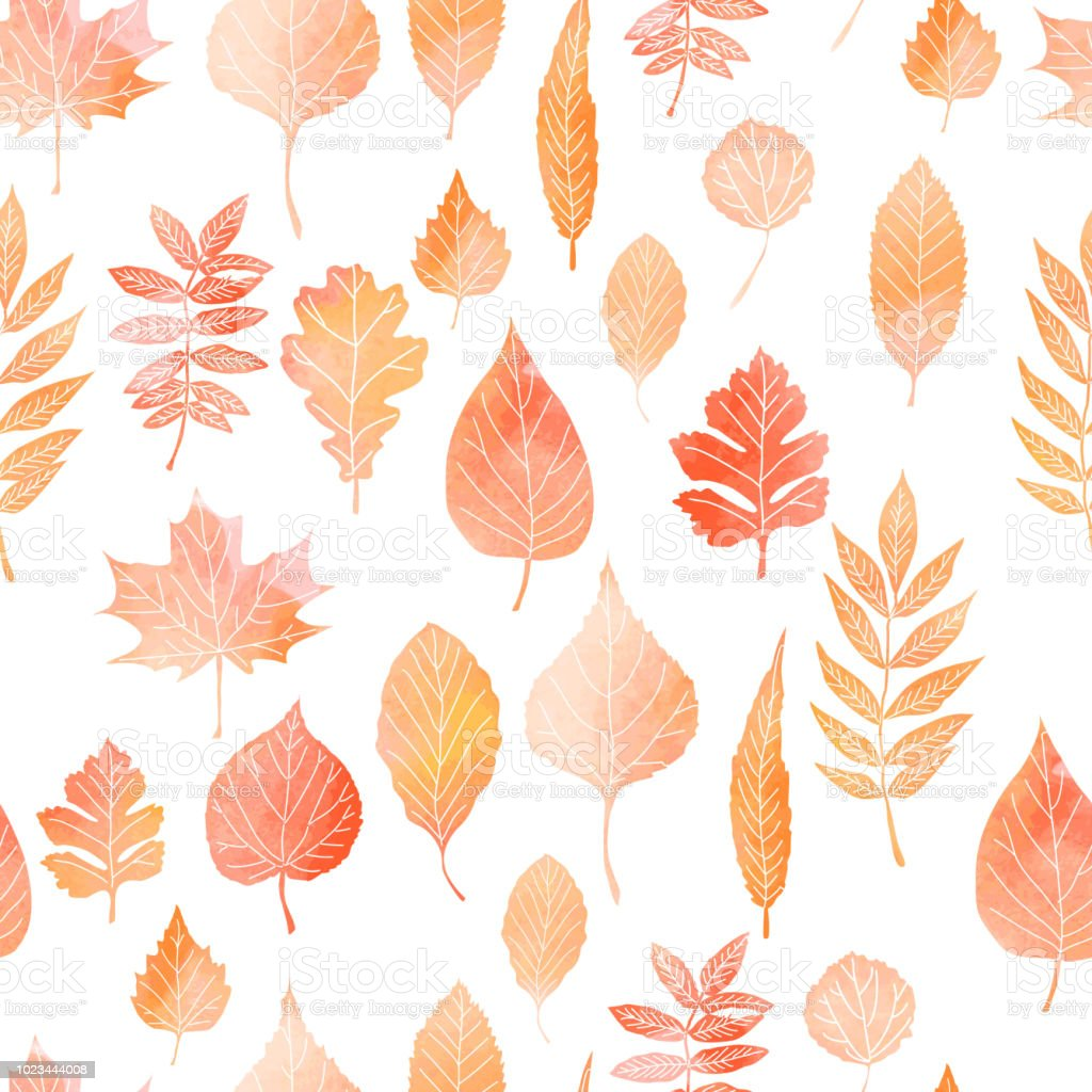 Seamless pattern with autumn leaves vector art illustration