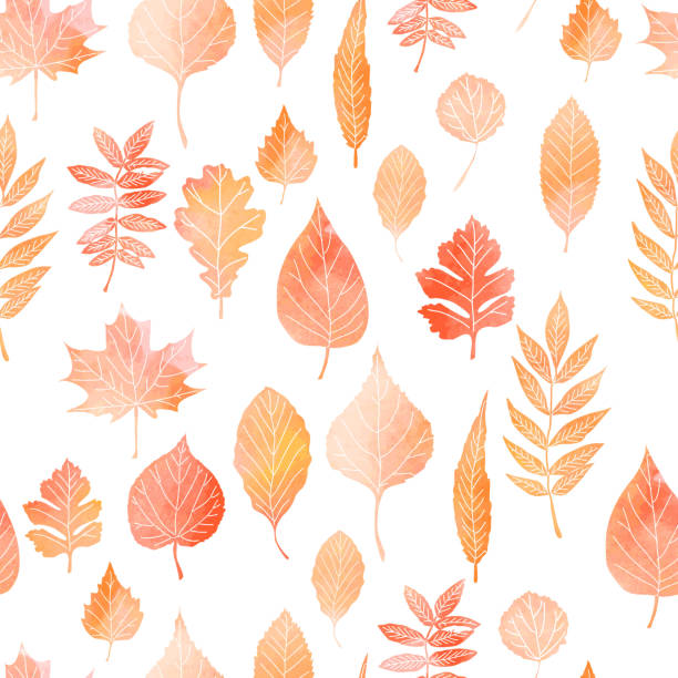 seamless pattern with autumn leaves - autumn stock illustrations