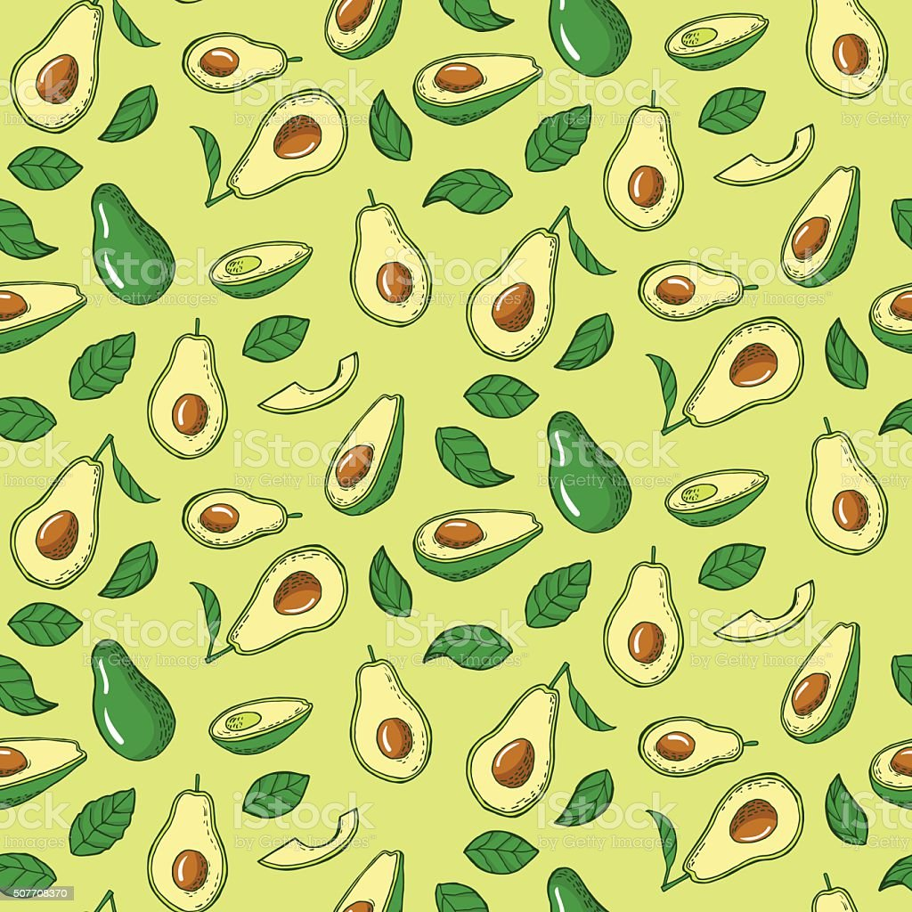 Seamless pattern with avocado vector art illustration
